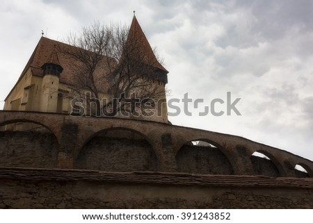 Biertan, Romania. One of the most important Saxon villages with fortified churches in Transylvania. Romania. - stock photo