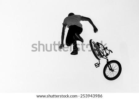 Big Air BMX falling, Lyon, France - stock photo