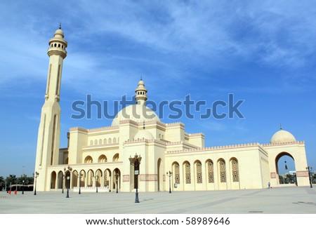 Big Al-Fateh mosque in the Manama city, Bahrein - stock photo