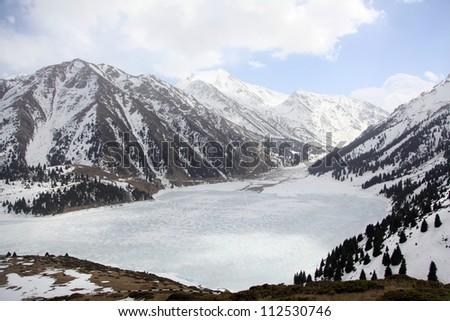 big almaty lake/mountains - stock photo