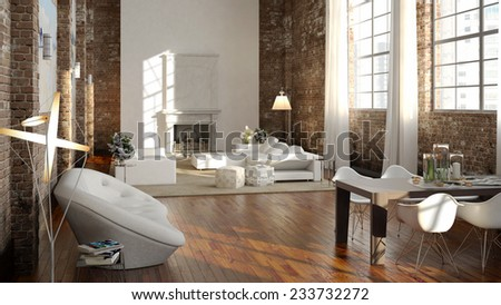 Big and comfortable living room with bright sofa. 3d rendering - stock photo
