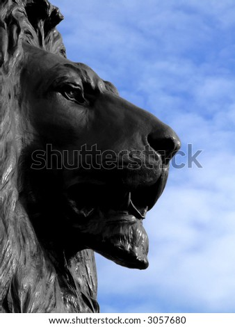 Big and dangerous African lion statue look