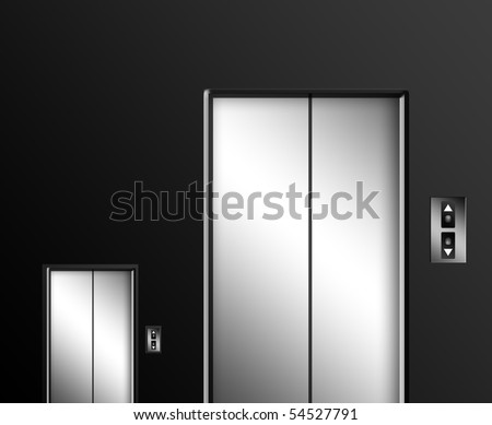 Big and small elevator door on black wall. Concepts and idea illustration