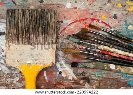 big and small paint brushes background  - stock photo