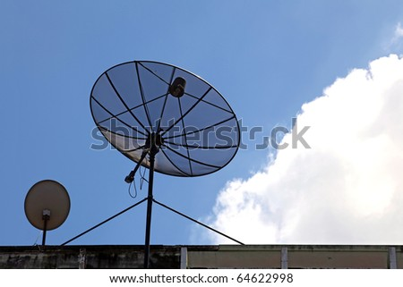 big and small satellite dish on the building