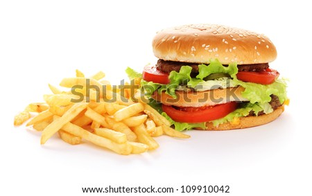 Big and tasty hamburger and fried potatoes isolated on white - stock photo