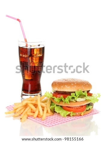 Big and tasty hamburger and fried potatoes with cola isolated on white - stock photo