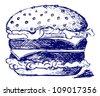 Big and tasty hamburger. Raster - stock photo