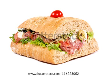 Big and tasty sandwich. Selective focus on the fron side. - stock photo