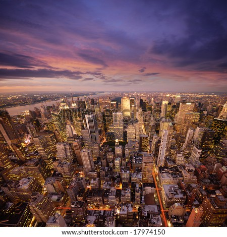 Big Apple after sunset - new york manhattan at night - stock photo