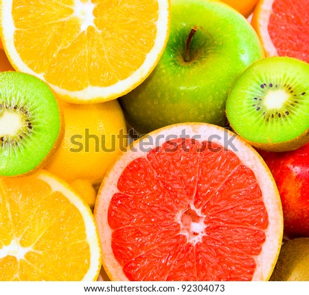 Big assortment of fruits as a background - stock photo