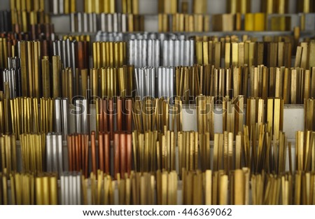 big assortment of metal pipes and profil strips for amateur handicraftsman