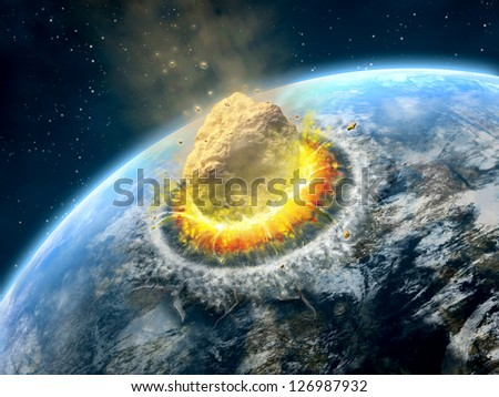 Big asteroid crashing on the surface of an Earth-like planet. Digital illustration. - stock photo