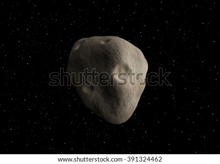 Big asteroid on a background of colored stars. - stock photo