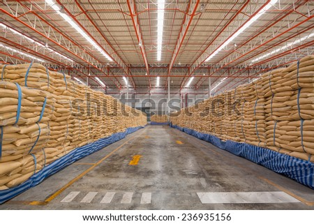 Big bag of sugar in distribution warehouse - stock photo