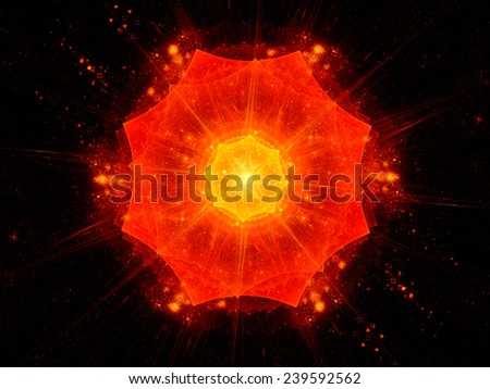 Big bang in space, computer generated abstract background - stock photo
