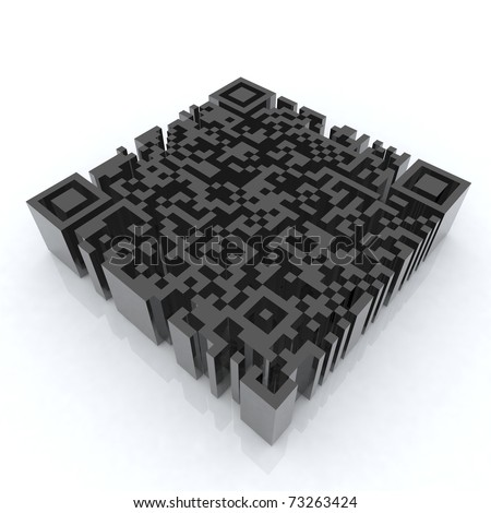 big barcode qr 3d illustration - stock photo