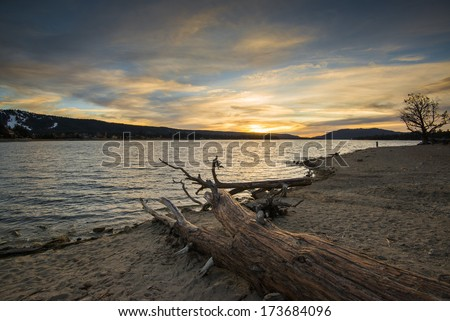 Big Bear Lake, CA. Sunset. - stock photo