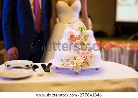 Big beautiful wedding cake with white flowers next to bride and groom - stock photo