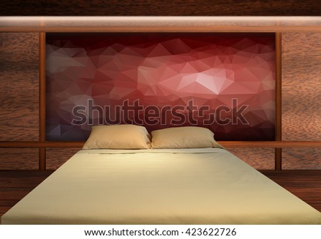big bed with abstract background and wood texture background . . . . bedroom, bedroom, bedroom, bedroom, bedroom, bedroom, bedroom, bedroom, bedroom, bedroom, bedroom, bedroom, bedroom, bedroom - stock photo