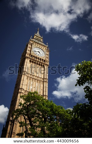 Big Ben against blue sky, London, UK
