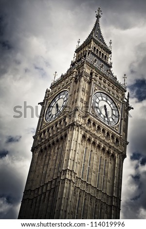 Big Ben against cloudy sky - stock photo