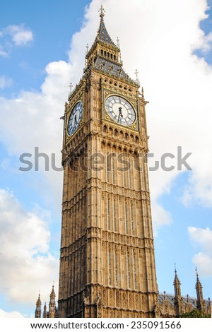 Big Ben against cloudy sky - Palace of Westminster, London - stock photo