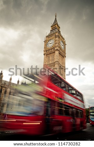 Big Ben and a London double decker bus - stock photo