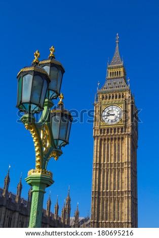 Big Ben and a London Street Lamp - stock photo