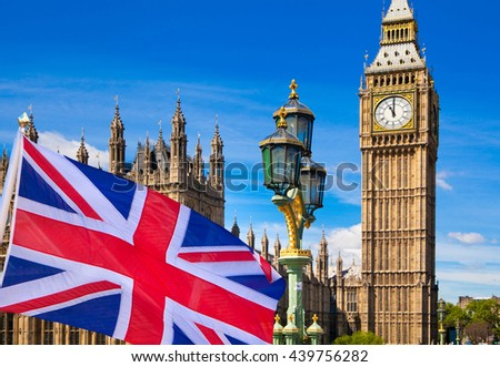 Big Ben and British flag against of blue sky. Illustration - stock photo