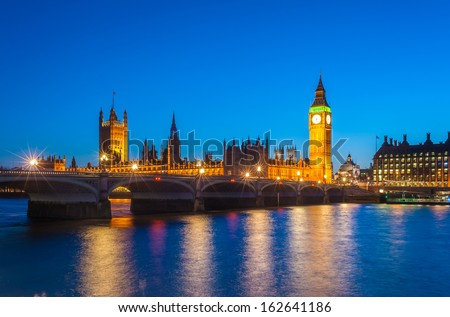 Big Ben and House of Parliament at sunset, London, UK  - stock photo