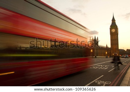 Big Ben and House of Parliament in evening time, London, UK. - stock photo
