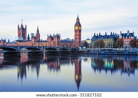 Big Ben and Houses of parliament at dusk, London, UK. - stock photo