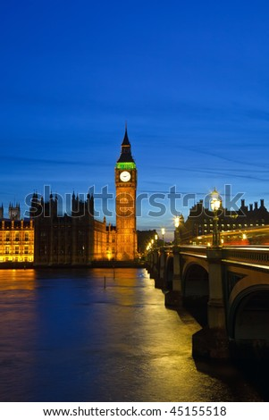 Big Ben and Houses of Parliament at night, London - stock photo