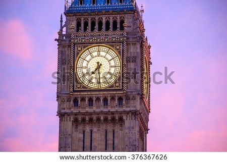 Big Ben and Houses of parliament at twilight in London, UK - stock photo