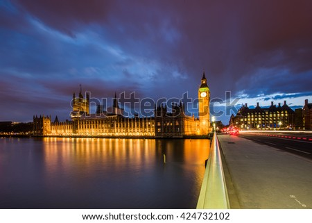 Big Ben and Houses of Parliament on a moody night, London, UK - stock photo