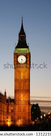 Big Ben and Palace of Westminster seen from South Bank - stock photo