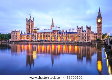 Big Ben and Parliament Building at Dawn in London. - stock photo