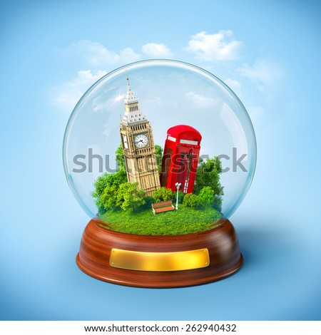 Big Ben and red phone box in the glass ball. Unusual travel illustration. London - stock photo