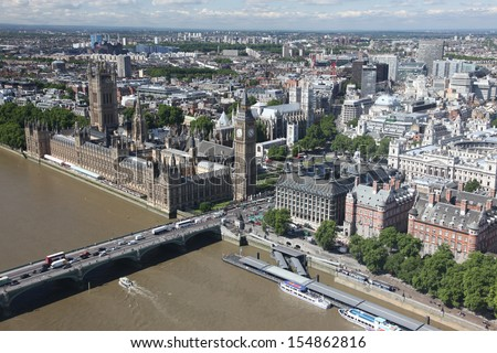 Big Ben and the Houses of Parliament in London, UK - stock photo