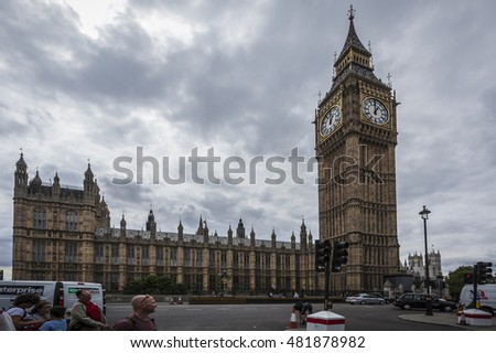 BIG BEN AND THE PALACE OF WESTMINSTER, LONDON, ENGLAND-19th AUG 2015:-The palace of westminster or the houses of parliament is where the british government reside.