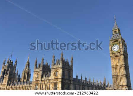 Big Ben and the parliamentary buildings in London. - stock photo