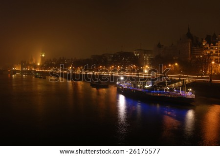 Big Ben and Victoria Embankment at night, London, England - stock photo