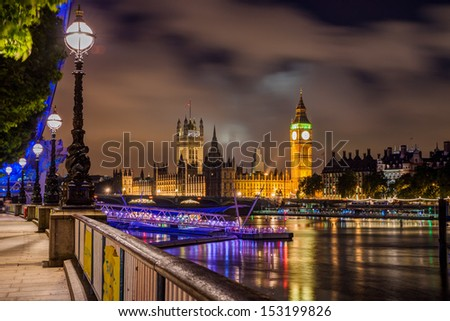 Big Ben and Westminster Bridge at night, London, UK - stock photo
