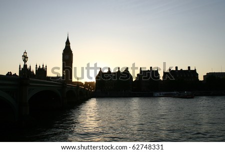 Big Ben and Westminster Bridge at sunset - stock photo