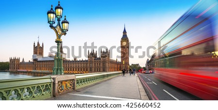 Big Ben and Westminster Bridge in London at dusk, UK - stock photo