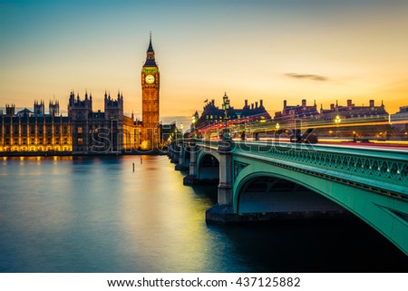 Big Ben and westminster bridge in London at sunrise. - stock photo