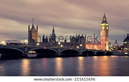 Big Ben and Westminster Bridge with river Thames  - stock photo