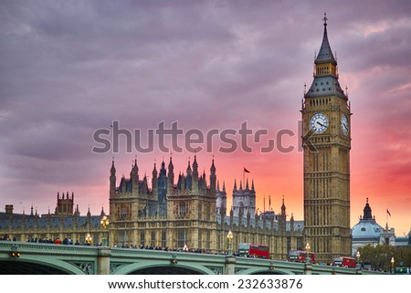 Big Ben and Westminster Bridge with river Thames at sunset, London, UK  - stock photo
