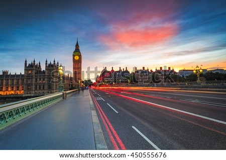 Big Ben and Westminster in London at sunset.  - stock photo